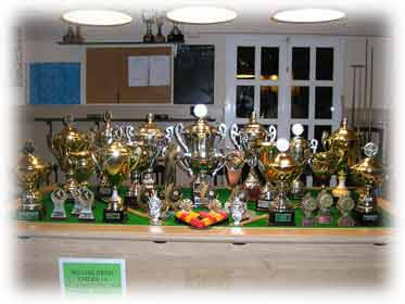 Some of the many pool trophies won over the years